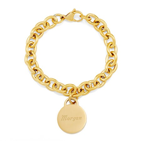 Stainless Steel Gold Round Tag Bracelet | Eve's Addiction