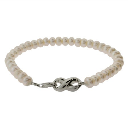 Designer Style Freshwater Pearl Infinity Bracelet | Eve's Addiction®