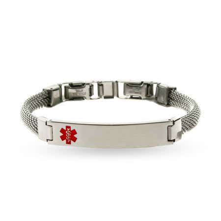 Ladies Engravable Medical ID Bracelet with Mesh Band