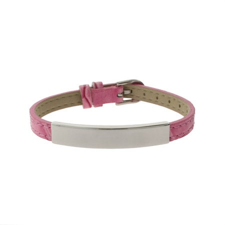 Engravable Pink Leather Buckle ID Bracelet | Eve's Addiction®