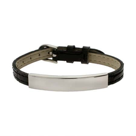 Engravable Black Leather Buckle ID Bracelet