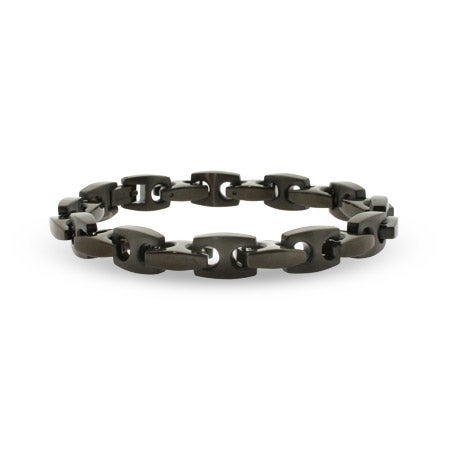 Mens Black Stainless Steel Puffed Anchor Link Bracelet | Eve's Addiction®