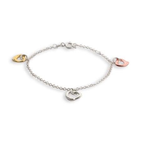 Three Tone Triple Hearts Bracelet | Eve's Addiction®
