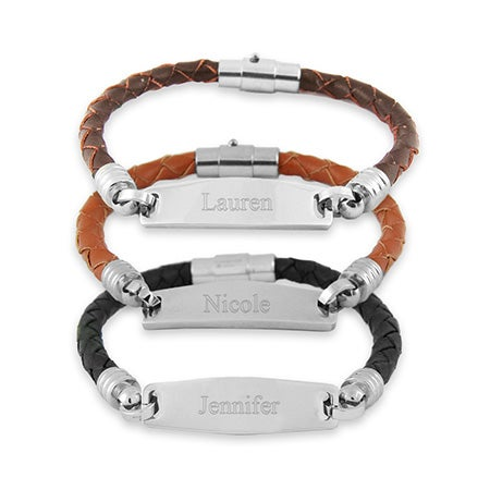 Womens Leather Engravable ID Bracelet | Eve's Addiction®