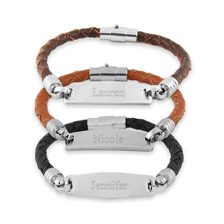 Womens Leather Engravable ID Bracelet