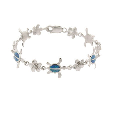 Sterling Silver Plumeria & Opal Sea Turtle Bracelet | Eve's Addiction®