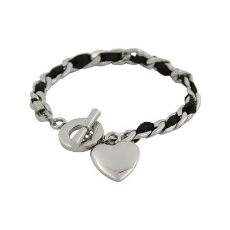 Engravable Heart Tag Bracelet with Black Ribbon