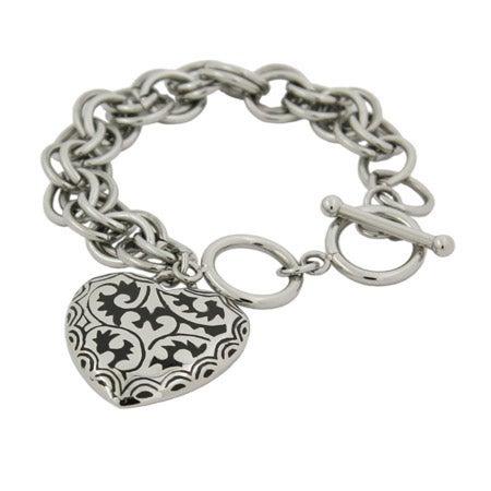Bali Style Black Enamel Heart Link Stainless Steel Bracelet | Eve's Addiction®