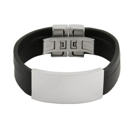 Mens Black Band Wide Engravable ID Bracelet | Eve's Addiction®