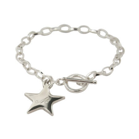 Oval Link Engravable Star Charm Toggle Bracelet | Eve's Addiction®