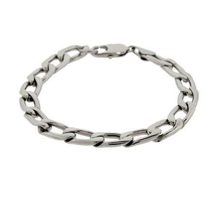 Men's Stainless Steel Flat Curb link Bracelet | Eve's Addiction