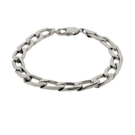 Men's Stainless Steel Flat Curb link Bracelet   Eve's Addiction