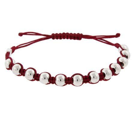Sterling Silver Red Beaded Friendship Bracelet   Eve's Addiction®