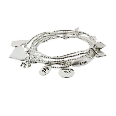 Good Fortunes Sterling Silver Love Charm Bracelet Set | Eve's Addiction®