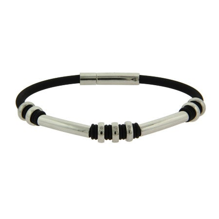 Men's Stainless Steel Rubber Bracelet With Oval Bead Links   Eve's Addiction®