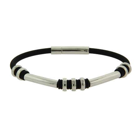 Men's Stainless Steel Rubber Bracelet With Oval Bead Links | Eve's Addiction®