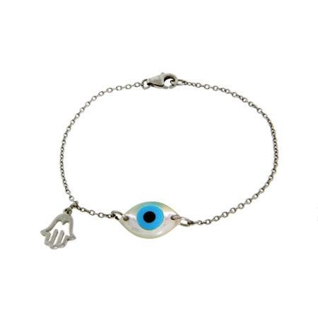 Sterling Silver Blue Evil Eye Bracelet With Hamsa Charm | Eve's Addiction®
