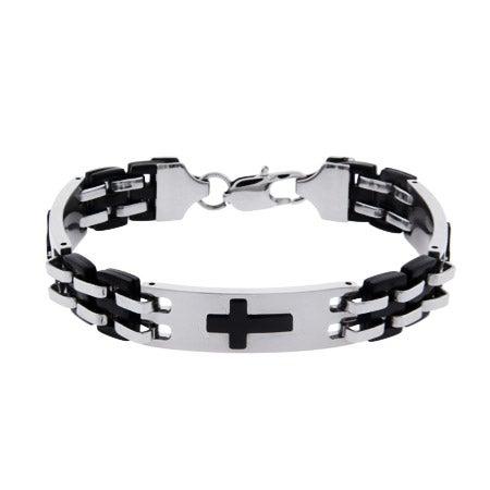 Men's Engravable Triple Cross Linked Bracelet | Eve's Addiction®
