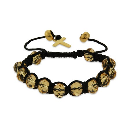 Champagne Shamballa Inspired Bracelet with Gold Cross | Eve's Addiction®
