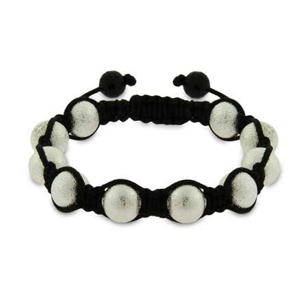 display slide 1 of 1 - Sandblast Finish Shamballa Style Bracelet - selected slide