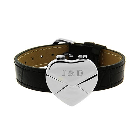 Where can you buy personalized leather bracelets and engravable heart bracelets in black leather