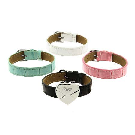 Where can you buy personalized leather bracelets and engravable heart bracelet sets
