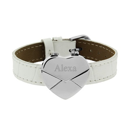 Where can you buy personalized leather bracelets and white leather engravable heart bracelets