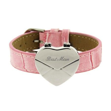 Engravable Pink Secret Message Heart Envelope Locket Bracelet   Eve's Addiction®