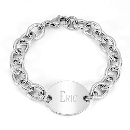 Stainless Steel Oval Tag Bracelet