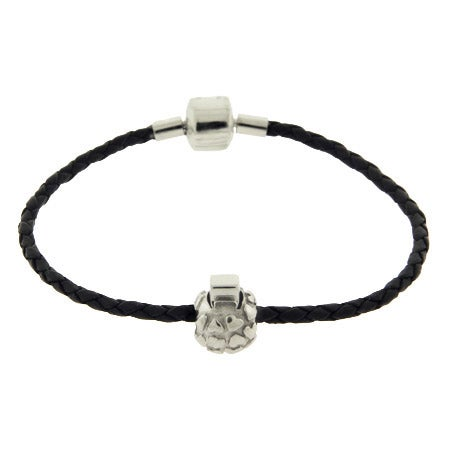 Black Braided Leather Oriana Bead Bracelet with Stopper Bead | Eve's Addiction®