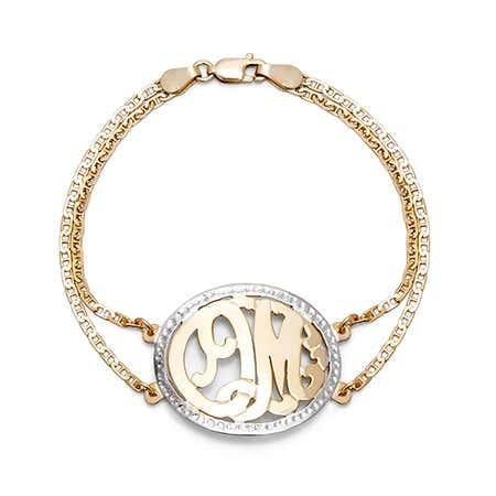 Gold Vermeil Two Initial Custom Monogram Bracelet | Eve's Addiction®