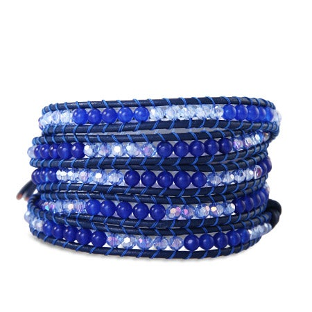 Chen Rai Shades of Blue Beads Long Wrap Bracelet | Eve's Addiction®