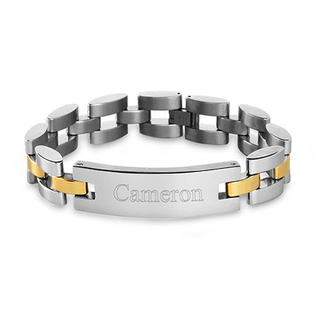 Men's Two Tone Watch Link Engravable ID Bracelet | Eve's Addiction®