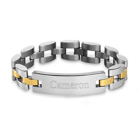 Men's Two Tone Watch Link Engravable ID Bracelet