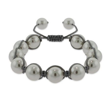 White Shell Pearl Shamballa Inspired Bracelet | Eve's Addiction®