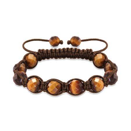 Tigers Eye Brown Cord Macrame Shamballa Style Bracelet   Eve's Addiction®