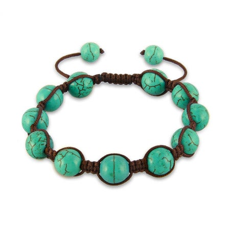 Turquoise Agate Beads Shamballa Style Bracelet | Eve's Addiction®