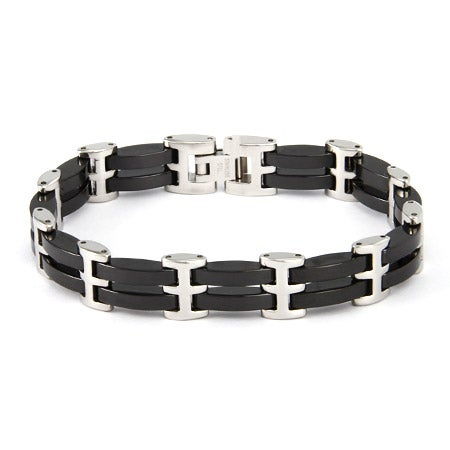Men's Black Ceramic Link Bracelet | Eve's Addiction®