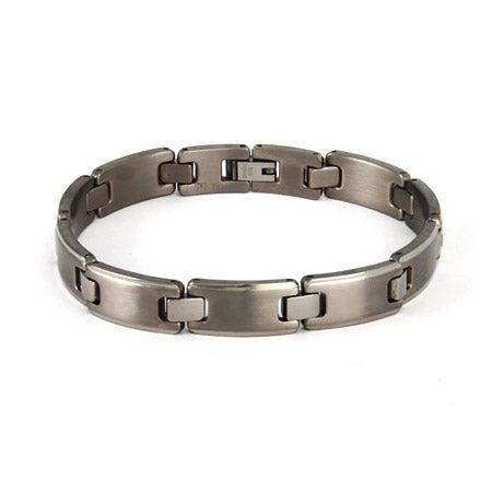Men's Titanium Brushed Link Bracelet | Eve's Addiction®