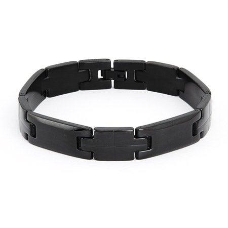 Men's Black Plate Stainless Steel Linked Bracelet | Eve's Addiction®