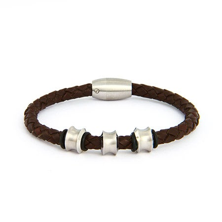 Nitro Stainless Steel Brown Braided Leather Men's Bracelet | Eve's Addiction®