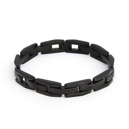 Men's Black Plate Stainless Steel Link Bracelet | Eve's Addiction®