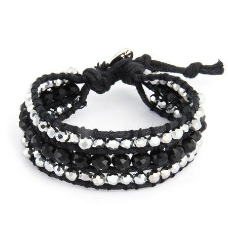 Chen Rai Shimmering Silver and Black Leather Beaded Single Wrap Bracelet | Eve's Addiction®
