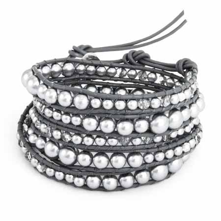 Grey Pearl and Glass Mix Wrap Bracelet | Eve's Addiction®
