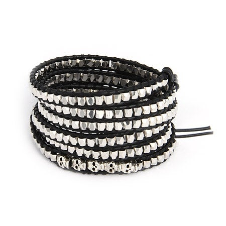 Chen Rai Silver Nuggets and Skulls Long Wrap Bracelet | Eve's Addiction®