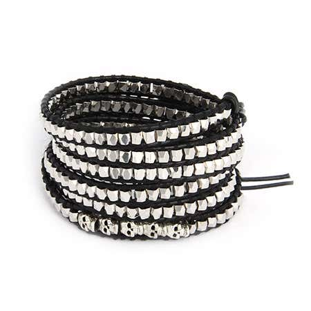 Chen Rai Silver Nuggets and Skulls Long Wrap Bracelet | Eve's Addiction®