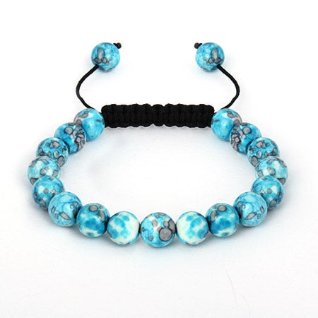 Marbled Blue Howlite Bead Shamballa Inspired Bracelet | Eve's Addiction®