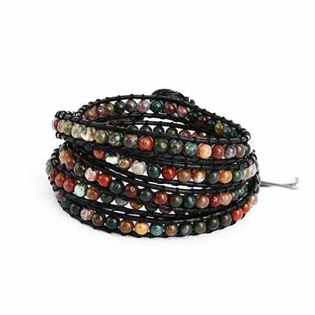 Chen Rai Earth Tone Jasper Bead Long Wrap Bracelet | Eve's Addiction®