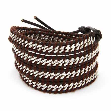 Chen Rai Chain Inlay Brown Leather Wrap Bracelet | Eve's Addiction®