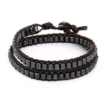 Chen Rai Hematite Bead Double Layer Wrap Bracelet | Eve's Addiction®